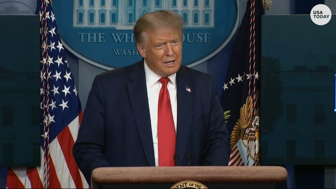 Then-President Donald Trump responds to the NY criminal investigation into the Trump Organization during a coronavirus briefing.