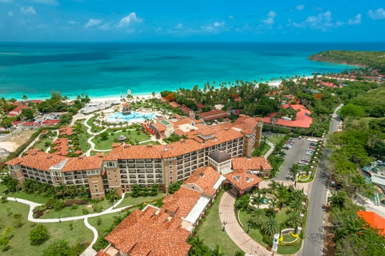 Sandals Grande Antigua is a sprawling all-inclusive on Dickenson Bay;  the longest white sandy beach on the island.