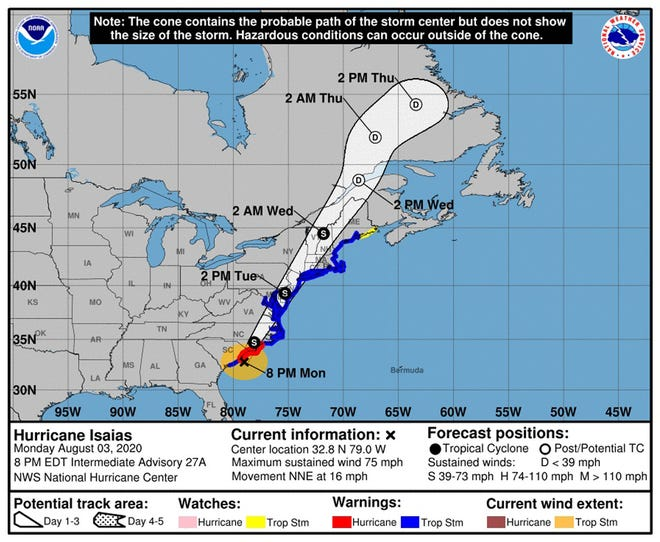 The forecast track for Hurricane Isaias at 8 p.m. Monday.