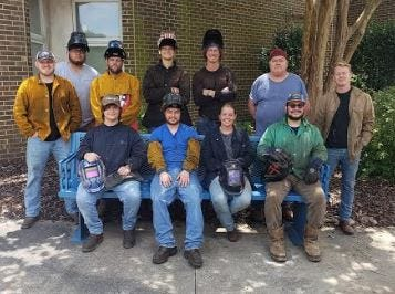Randolph Community College's 2020 Diploma Welding class was the first-ever to complete the American Welding Society's Sense Training Level 1. Pictured in the back row, left to right, are Coren McCrainie, Trevor Maness, Ethan Langdon, Brighton Long, Pat Dawes, David Seal and Daniel Kaminski. Pictured in the front row, left to right, are Brenden Katzenberg, Montgomery Bosher, Amelia Garrison and Sean Price.