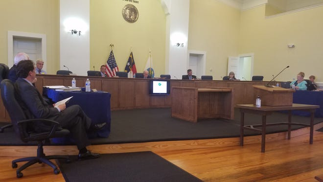 The Randolph County board of commissioners during their regular monthly meeting Monday night in the historic courthouse in downtown Asheboro.