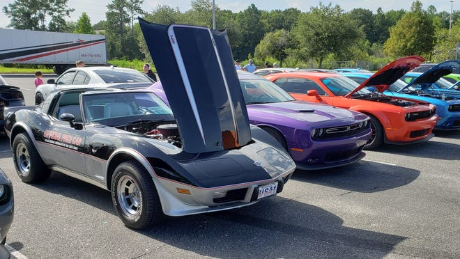 A classic 1978: 25th Anniversary Corvette Indy 500 pace car replica fonts a line of MOPARS at last weekend's First Coast Car Council cruise-in in Orange park. [Dan Scanlan/Florida Times-Union]