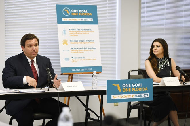 Governor Ron DeSantis was joined by First Lady Casey DeSantis, Agency for Health Care Administration Secretary Mary Mayhew and Department of Elder Affairs Secretary Richard Prudom along with Jacksonville resident Mary Daniel and the VP of Public Policy at the Central and North Florida Alzheimer's Association Michelle Branham at ElderSource in Jacksonville. [Bob Self/Florida Times-Union]