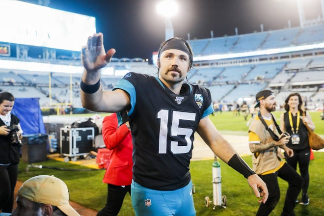 Gardner Minshew II (15) of the Jacksonville Jaguars looks on after defeating the Indianapolis Colts in a game at TIAA Bank Field on Dec. 29, 2019 in Jacksonville, Florida. Minshew was placed on the team's reserve/COVID-19 list Sunday. (James Gilbert/Getty Images/TNS)