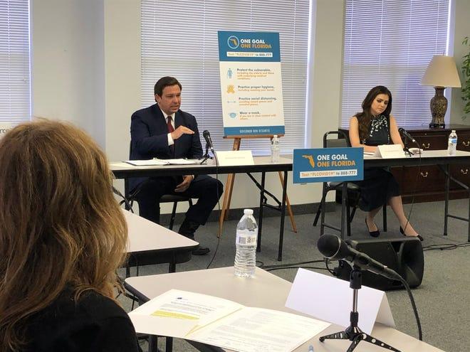 Florida Gov. Ron DeSantis speaks at ElderSource in Jacksonville on Tuesday, Aug. 4.