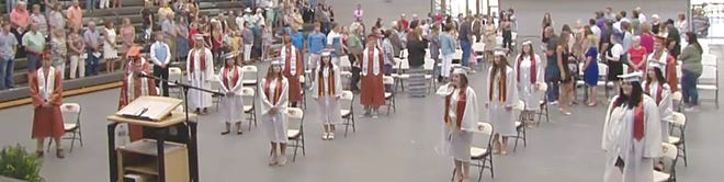 The Kiowa County High School class of 2020 celebrated with a graduation ceremony on Saturday, July 25 in Greensburg. (Screenshot from Kiowa County Media Center Video)