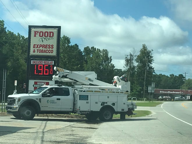 Utility trucks were roaming Bladenboro on Tuesday. Early Tuesday morning, traffic lights were out in downtown Bladenboro and Elizabethtown. Those had been restored by noon.
