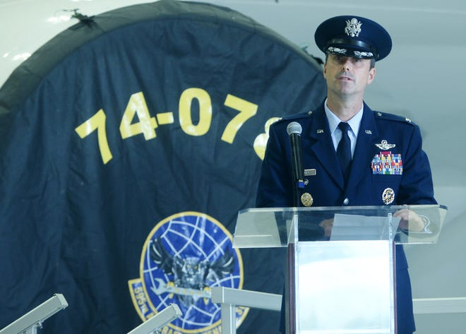 Col. Brian Golden, 595th Command and Control Group and National Airborne Operations Center commander, gives remarks after assuming command during the 595th Command and Control Group and National Airborne Operations Center change of command ceremony.