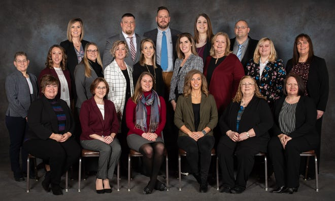Leadership Coshocton County 2020 class graduates included, back row, Kayley Andrews, Pat Snyder, Joshua Williams, Valerie Shaw, Opha Lawson Jr.,  middle row, Executive Director Betsy Gosnell, Angela Locke, Mackenzie Grant, Tonya Bevins, Jennifer Croft, Jolinda Kistler, Sherri Gibson, Reba Kocher, Amy Bourne, front row, Debbie Christmas, Leanne Allison, Samantha Daugherty, Autumn Hendershot, Gwendolyn Bordenkircher, and Kelli Darr. Absent was Brittany Coon.