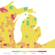 This map shows risk level for each county in Michigan as of Aug. 4, 2020, according to the Harvard Global Health Institute