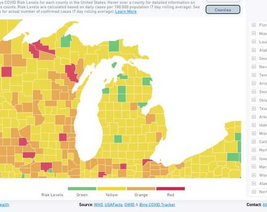 This map shows the level of risk for each county in Michigan as of August 4, 2020, according to the Harvard Global Health Institute