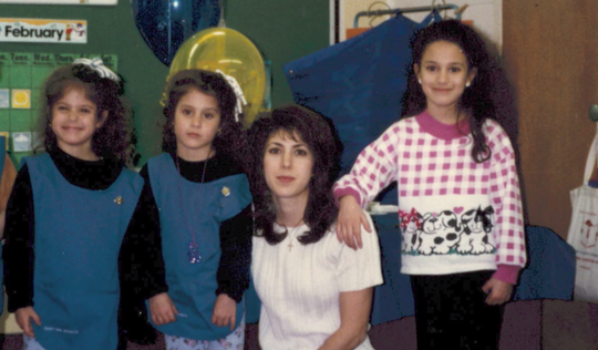 Taken in 1995, this photo shows, from left, Bianca Iacopelli; her twin sister Cristina; their mother, Kristine, and sister Francesca.