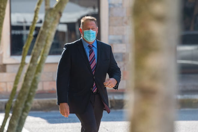 Brian Pope arrives at the Lafayette Parish Courthouse.  Tuesday, Aug. 4, 2020.