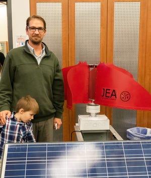 Jason Jordan displays his invention at the Forge.
