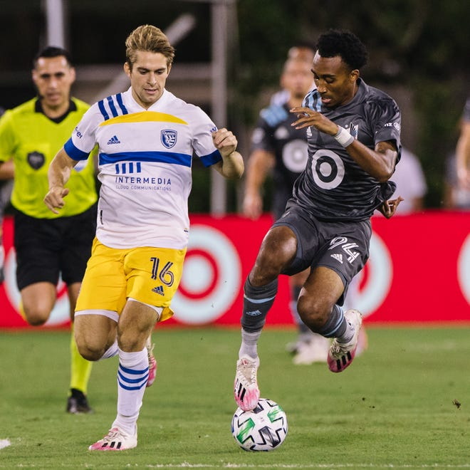 San Jose Earthquakes midfielder Jack Skahan (16) makes a play on the ball during his MLS debut in a match against Minnesota United FC on Aug. 1. Skahan was born and raised in Memphis.