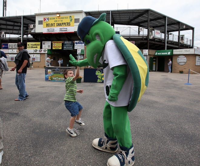 Snappy, the mascot of the Beloit Snappers, greets people prior to their game against the Cedar Rapids Kernels Thursday, July 2, 2009 at Pohlman Field in Beloit, Wis.