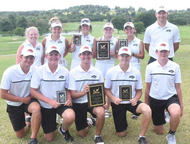 Cabot's boys' and girls' golf teams pose with their team and individual trophies after sweeping the Ultimate Auto Group Invitational on Tuesday at Big Creek Golf & Country Club.