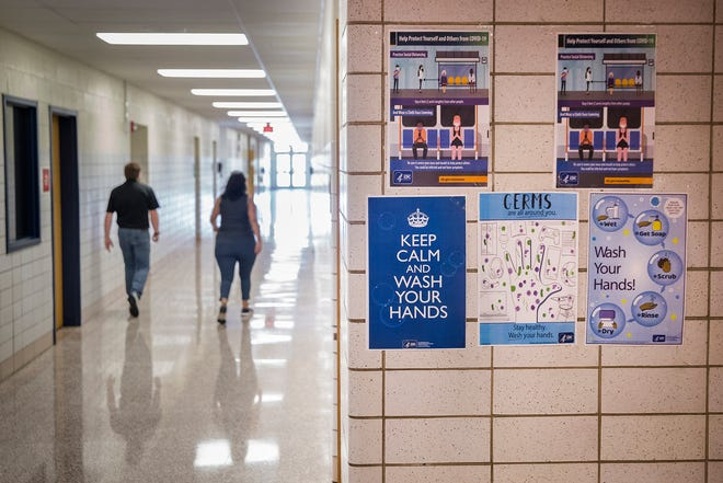 Signs posted at Southside Middle School Tuesday, Aug. 4, 2020.