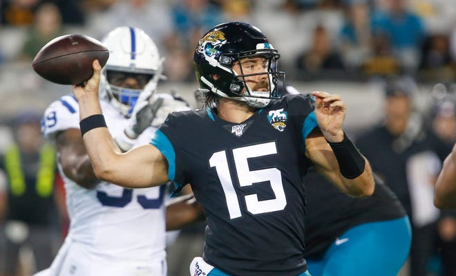 Jacksonville Jaguars quarterback Gardner Minshew II (15) throws a pass during the second quarter against the Indianapolis Colts at TIAA Bank Field last season.