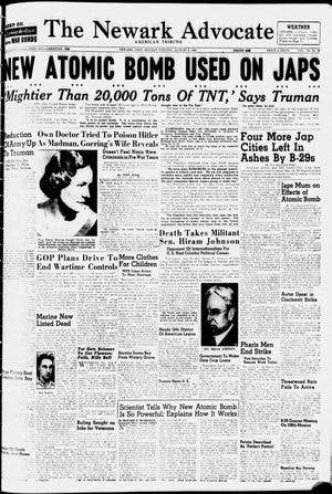 The front page of the Aug. 6, 1945 edition of The Advocate, the day the first atomic bomb fell on Japan.