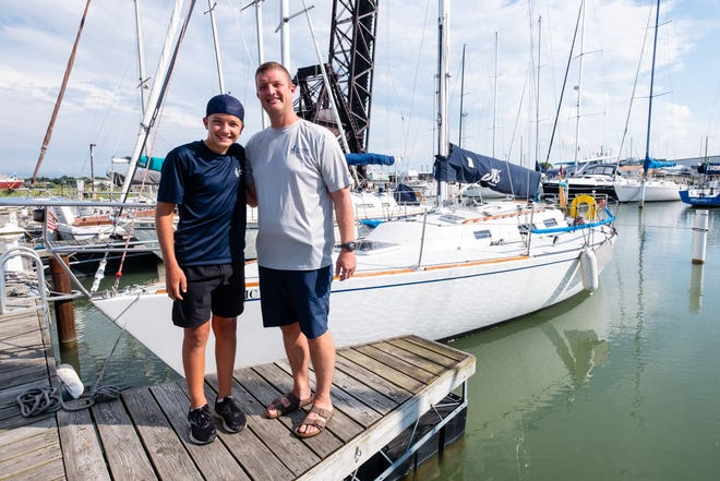 Ryan Mynsberge and his son, Aiden, photographed Monday, Aug. 3, 2020, competed in this year's Port Huron-to-Mackinac race on the Major Detail. This was Ryan's 21st start, and Aiden's first.