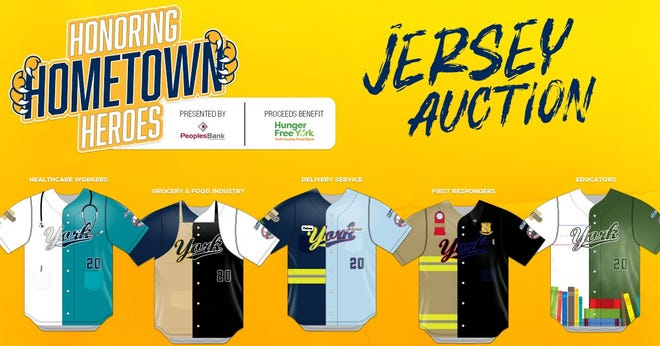 Pictured are the jersey designs, honoring hometown heroes, that will be put up for auction by the York Revolution.