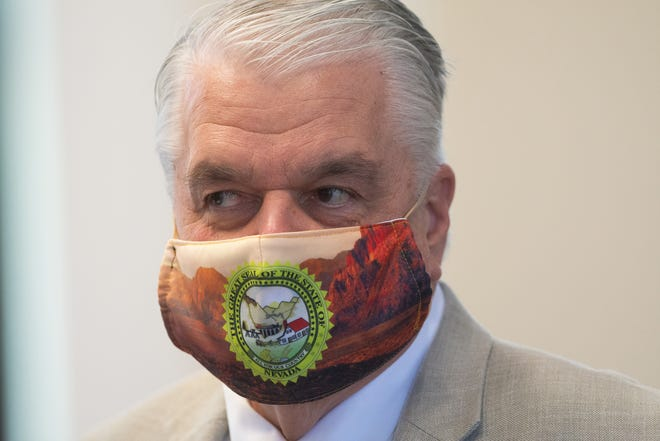 Governor Steve Sisolak during a press conference on Monday, Aug. 3, 2020 in the former Assembly chambers inside the Capital in Carson City.