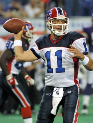 Drew Bledsoe said a single-game Bills passing yardage record in just his second game with the team in 2002 against Minnesota.