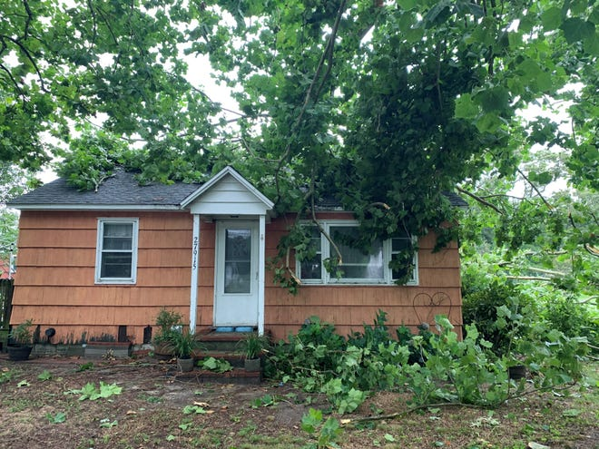 Cathy Powell was watching the news report tornado warnings around 8:30 a.m. when an American sycamore snapped in half and fell through her roof, on Possum Point Road in Millsboro. No one was injured.