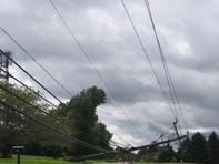 Photo of downed power lines at the Brennen Estates in Bear.