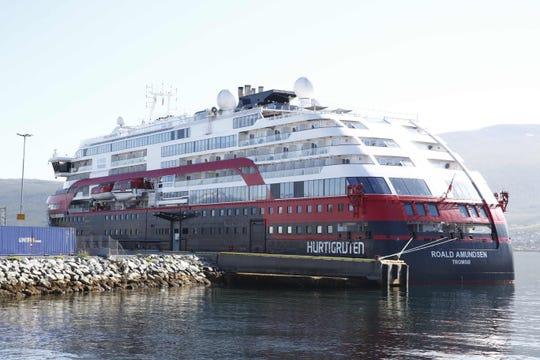 The Hurtigruten ship Roald Amundsen will be moored on 3 August 2020 in Breivika, in Tromsø, northern Norway, following an outbreak of the new coronavirus (COVID-19) on board the ship.