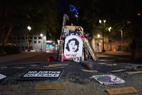 A memorial to Breonna Taylor is seen here during a Black Lives Matter protest on August. 2, 2020 in Portland, Ore.