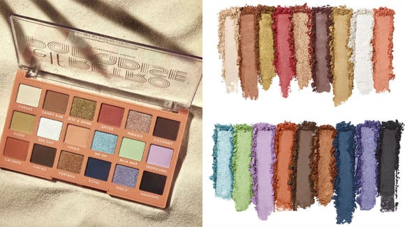 Choose from metallic and matte finishes and vibrant and neutral colors with the E.L.F. Cosmetics Retro Paradise Eyeshadow Palette.