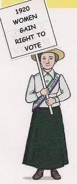 Women obtain the right to vote in 1920.