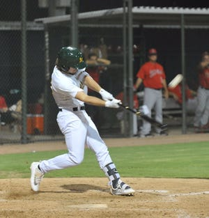 Austin Beck, shown here hitting his first professional home run in 2017 in Mesa, Arizona, was left off the Oakland A's 60-man player pool for 2020. [Mike Duprez/The Dispatch]