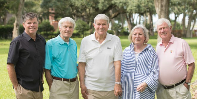 Honorees of the 2020 Beach Legends gala are Ed Malin (from left), Franklin Dickinson, Walter Dickinson, Jackie Rooney and Maxwell Dickinson.