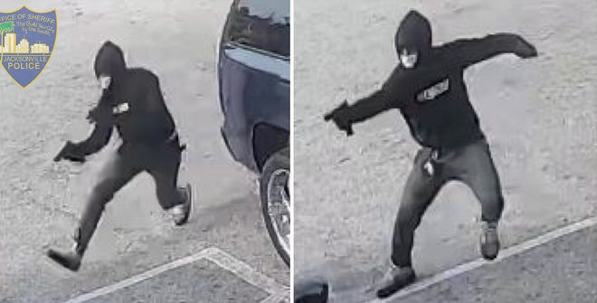 Security camera images released by the Jacksonville Sheriff's Office show the gunman firing during Monday's homicide at an Edgewood Avenue West convenience store. [Jacksonville Sheriff's Office]
