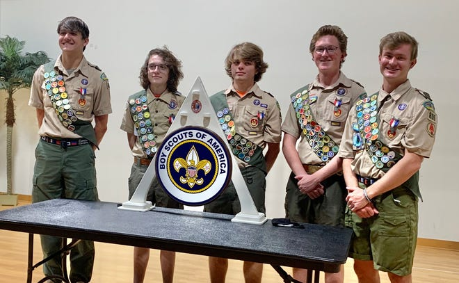 New Eagle Scouts, from left, Christian Knuth, Aidan Sepanski, Dylan Stone, John Paul Fletcher and Will Getzen. Not pictured are Dante Aletto, who has begun his service at the Air Force Academy, and Ben Quale. [Photo provided]