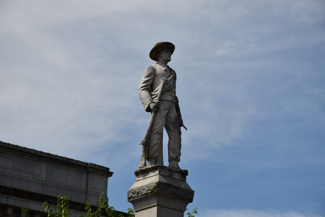 The Confederate monument on the north side of the Alamance County Courthouse. [BURLINGTON TIMES-NEWS]