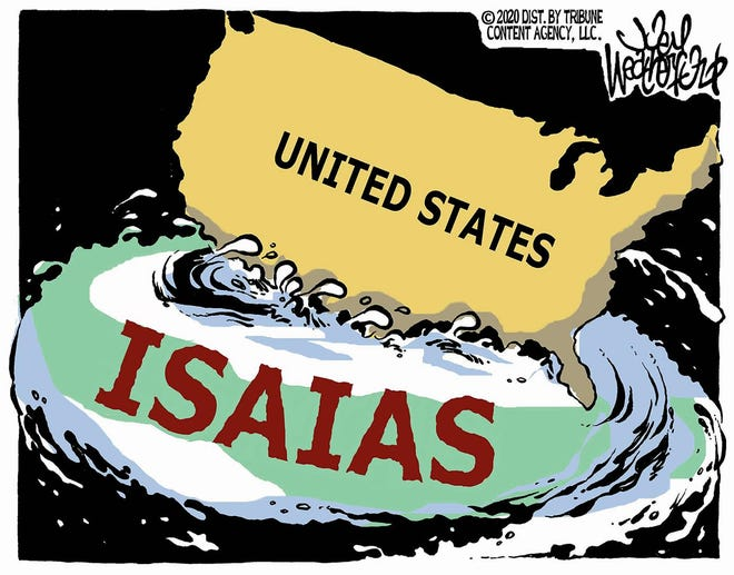 Hurricane Isaias dances around the United States coastal border.