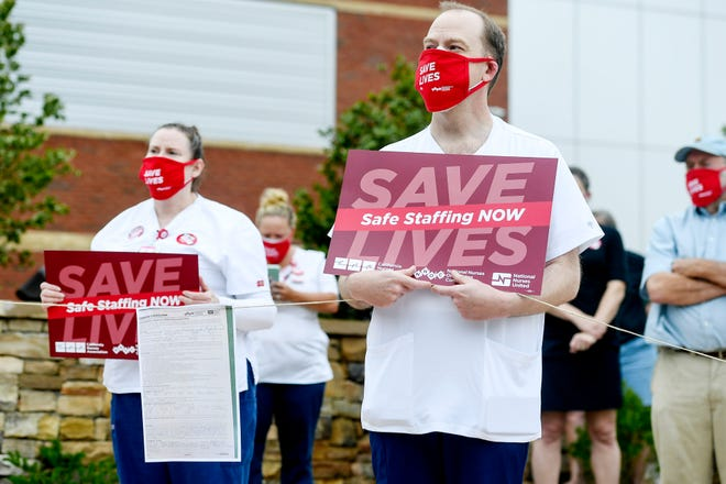 Mission nurses gathered to call for an increase in staffing August 5, 2020 in Asheville.