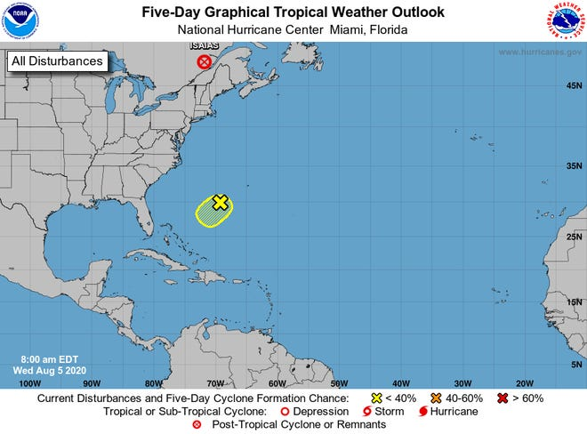 A system in the Atlantic could still form, and its track has changed from a northwesterly movement to a southwesterly movement.