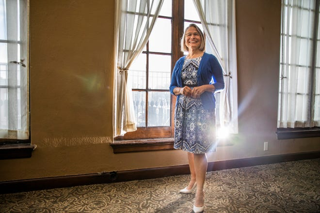 State Sen. Mariannette Miller-Meeks poses for portrait at Hotel Ottumwa on Monday, August 3, 2020 in Ottumwa, Iowa. Miller-Meeks won the Republican nomination for Iowa's 2nd Congressional District in June and will face Democrat Rita Hart in the general election in November. (Katina Zentz/Des Moines Register)