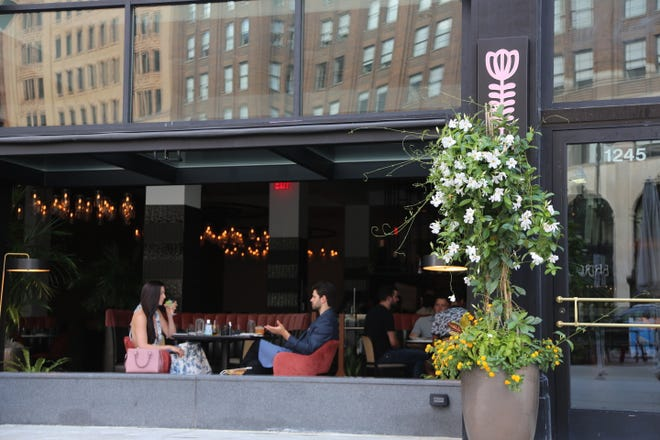 Guests eat in the open-air dining room at Leila in Detroit on July 29, 2020.