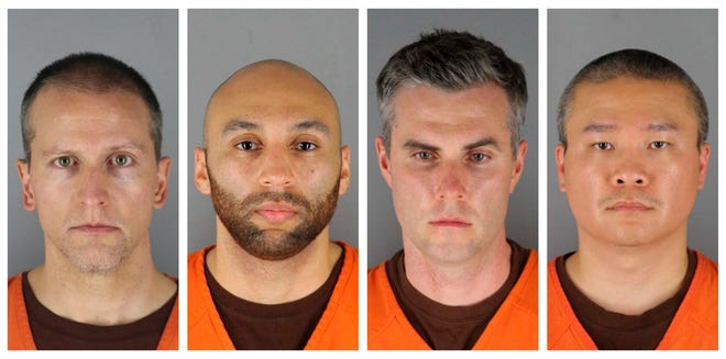 This combination of file photos provided by the Hennepin County Sheriff's Office in Minnesota on June 3 shows Derek Chauvin, from left, J. Alexander Kueng, Thomas Lane and Tou Thao. Prosecutors say they may revisit the issue of audio-visual coverage of the trials of four former Minneapolis police officers charged in the death of George Floyd.  Chauvin is charged with second-degree murder of Floyd, a Black man who died after being restrained by him and the other Minneapolis police officers on May 25. Kueng, Lane and Thao have been charged with aiding and abetting Chauvin.