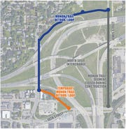A map shows how the Monon Trail will detour around the North Split during the interchange's reconstruction.