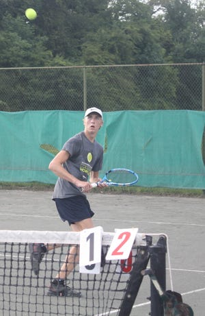 Benton Drake eyes an opportunity to hit a volley en route to becoming a three-time boys 18 singles champ in the 87th News Journal/Richland Bank Tennis Tournament at Lakewood Racquet Club