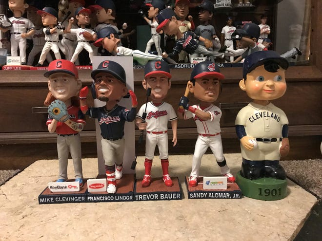 The 2019 Cleveland Indians stadium bobblehead giveaway promotions included Mike Clevinger, Francisco Lindor, Trevor Bauer, Sandy Alomar, Jr. and a 1901 replica.