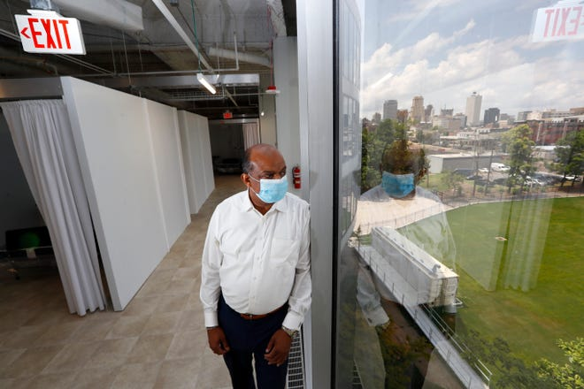 Brownsville Mayor Bill Rawls stands inside the former Commercial Appeal building in Memphis.