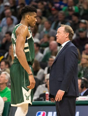 The Bucks' Giannis Antetokounmpo won NBA MVP last year and Mike Budenholzer was voted coach of the year. Both are up for the awards again this season.